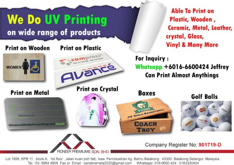 Pioneer Premiums Sdn  Bhd  - SCREEN PRINTING SERVICES We